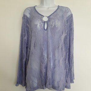 Lulu-B Lavender Star Mesh Blouse Extra Lar…